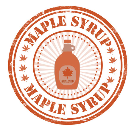 Maple syrup grunge rubber stamp on white, vector illustration