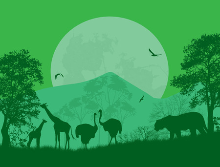 Wild animals in front a full moon on green, vector illustration Vector