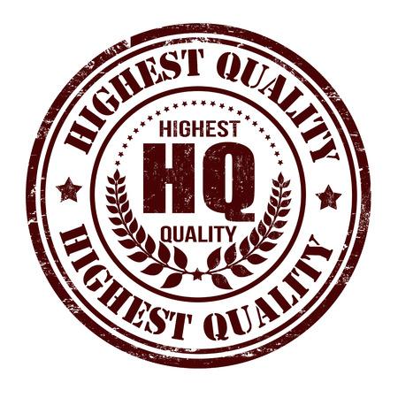 highest: Highest quality grunge rubber stamp on white, vector illustration