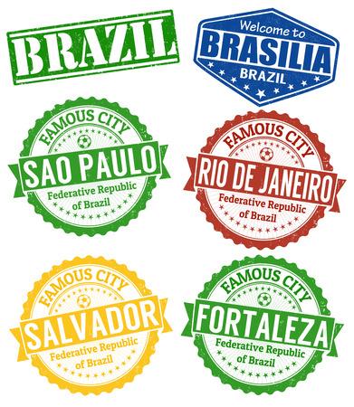 Conjunto de sellos de goma del grunge con nombres de ciudades de Brasil, ilustración vectorial Foto de archivo - 26132525