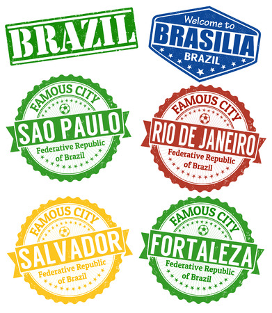 Set of grunge rubber stamps with names of Brazil cities, vector illustration
