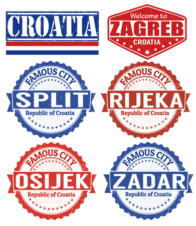 Set of grunge rubber stamps with names of Croatia cities, vector illustration