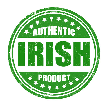certificated: Authentic irish product grunge rubber stamp on white, vector illustration Illustration