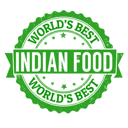 india food: Indian food grunge rubber stamp on white, vector illustration