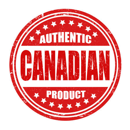 canadian icon: Authentic canadian product grunge rubber stamp on white, vector illustration