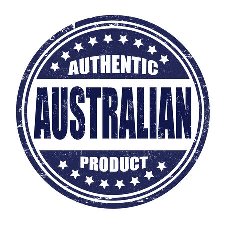 Authentic australian product grunge rubber stamp on white, vector illustration Vector