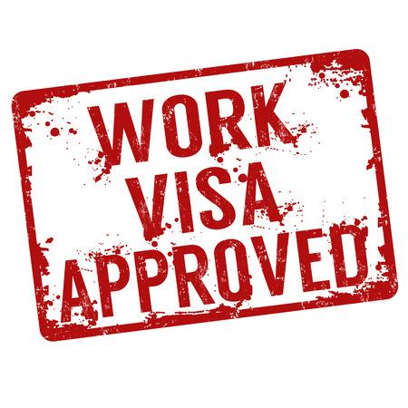 Work visa approved grunge rubber stamp on white, illustration Illustration