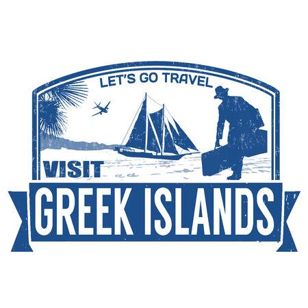 greek islands: Visit greek islands grunge rubber stamp on white,  illustration