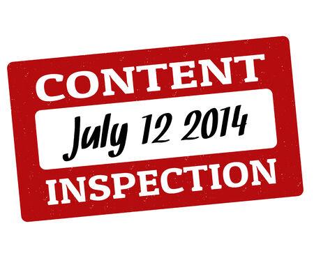 inspeccion: Contenido grunge inspecci�n sello de goma en blanco, ilustraci�n