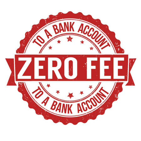 honorarios: Tasa cero a una cuenta bancaria grunge sello de goma en blanco, ilustraci�n