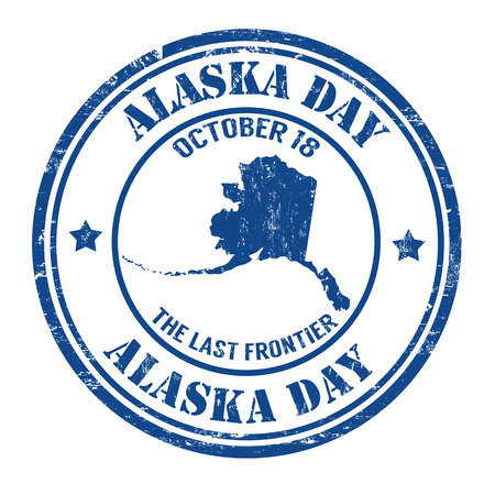 Alaska day grunge rubber stamp on white, vector illustration Vector