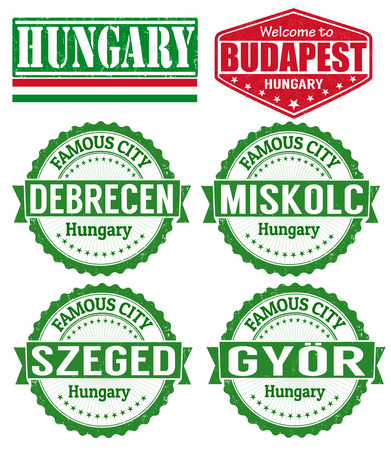 Set of grunge rubber stamps with names of Hungary cities, vector illustration Vector
