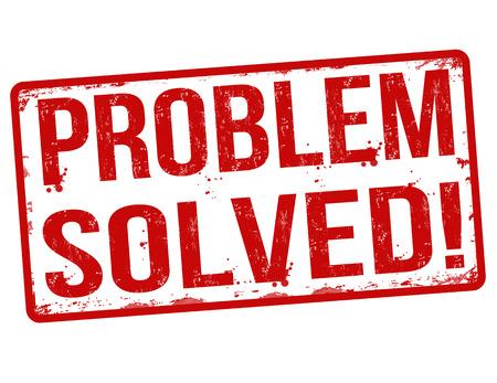 Problema resuelto grunge sello de goma en blanco, ilustración vectorial