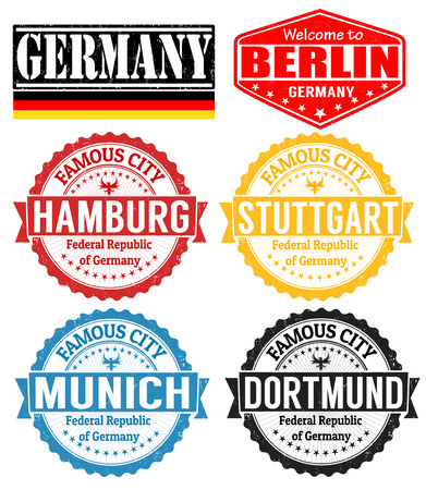 hamburg: Set of grunge rubber stamps with names of Germany cities, vector illustration