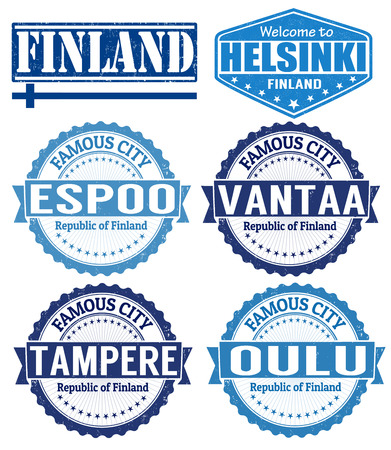 Set of grunge rubber stamps with names of Finland cities, vector illustration Illustration