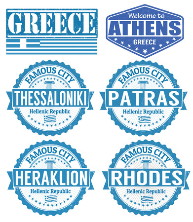 rhodes: Set of grunge rubber stamps with names of Greece cities, vector illustration Illustration