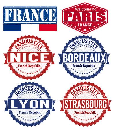 Conjunto de sellos de goma del grunge con nombres de ciudades de Francia, ilustración vectorial