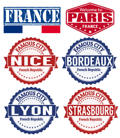 nice  france: Set of grunge rubber stamps with names of France cities, vector illustration