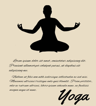 Yoga poster in retro style background, vector illustration Stock Vector - 26198203