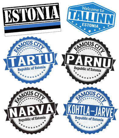 estonia: Set of grunge rubber stamps with names of Estonia cities, vector illustration