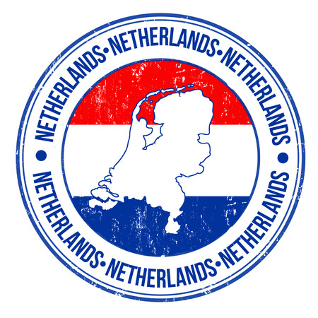 Grunge rubber stempel met Nederland vlag en het woord Nederland geschreven binnen, vector illustratie Stock Illustratie