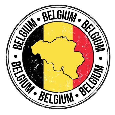 グランジ ゴム製スタンプとベルギー フラグ、マップ、単語ベルギー内に書かれ、ベクトル イラスト