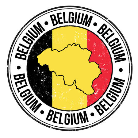 belgium flag: Grunge rubber stamp with Belgium flag, map and the word Belgium written inside, vector illustration