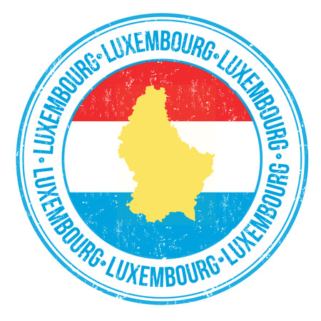 Grunge rubber stamp with Luxembourg flag, map and the word Luxembourg written inside, vector illustration Vector