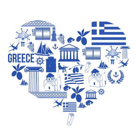 antigua grecia: Símbolos tradicionales de Grecia en forma de corazón sobre fondo blanco, ilustración vectorial
