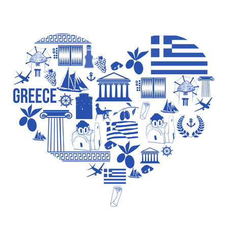 Traditional symbols of Greece in the form of heart on white, vector illustration Illustration