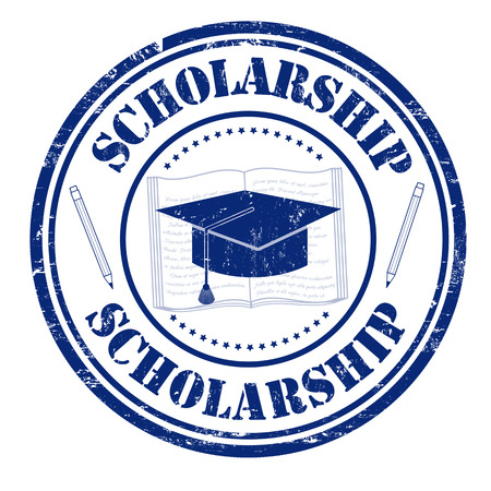 Scholarship grunge rubber stamp on white, vector illustration