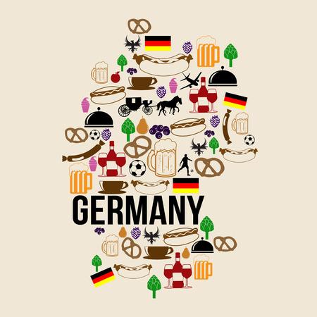 Deutschland Karte Wahrzeichen Silhouette Symbol auf Retro-Hintergrund, Vektor-Illustration