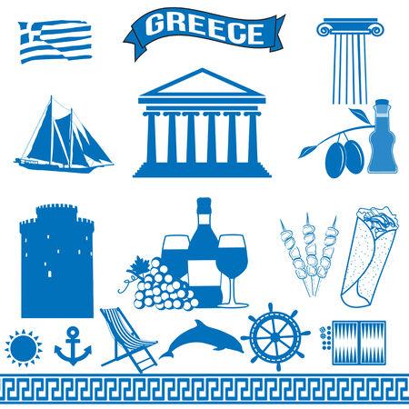 оливки: Греция - традиционные греческие символы на белом фоне, векторные иллюстрации