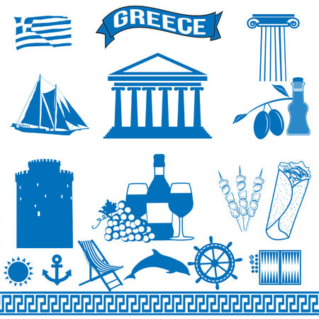 greek flag: Greece - traditional greek symbols on white background, vector illustration