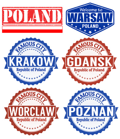 Set of grunge rubber stamps with names of Poland cities, vector illustration