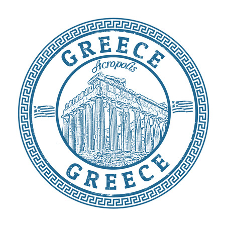 parthenon: Blue grunge rubber stamp with the Parthenon shape from Greece and the name Greece written inside, vector illustration Illustration