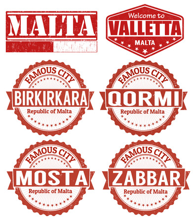 malta cities: Set of grunge rubber stamps with names of Malta cities, vector illustration Illustration