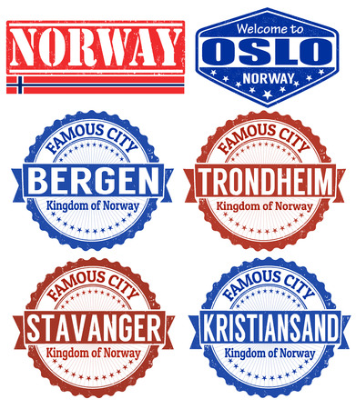 kristiansand: Set of grunge rubber stamps with names of Norway cities, vector illustration