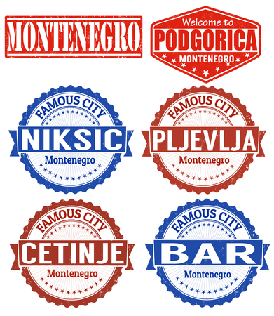 Set of grunge rubber stamps with names of Montenegro cities, vector illustration Illustration