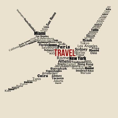 agencia de viajes: Concepto de viaje mundo hecha con palabras dibujando un avión en el fondo vintage, ilustración vectorial Vectores