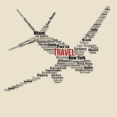 World travel concept made with words drawing a airplane on vintage background, vector illustration