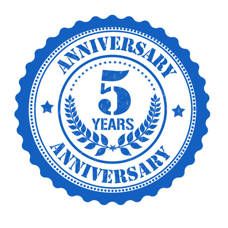 5th: 5 years anniversary grunge rubber stamp on white, vector illustration Illustration