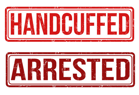 handcuffed: Handcuffed and arrested grunge rubber stamps on white, vector illustration Illustration