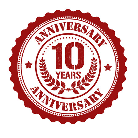 10 years anniversary grunge rubber stamp on white, vector illustration