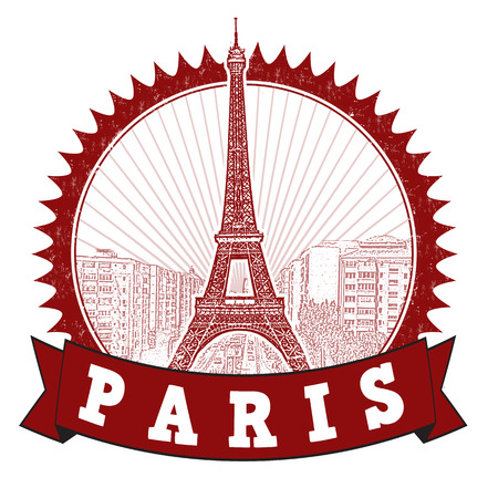Red grunge rubber stamp with the Eiffel Tower symbol and the name Paris written inside, vector illustration Vector
