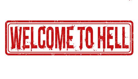 infierno: Bienvenidos al infierno grunge sello de goma en blanco, ilustración vectorial