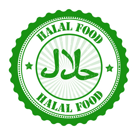 Halal food grunge rubber stamp on white, vector illustration