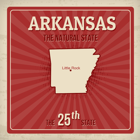 Arkansas travel vintage grunge poster, vector illustration Illustration