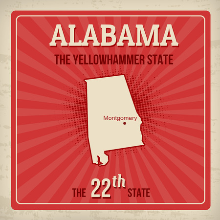 alabama state: Alabama travel vintage grunge poster, vector illustration Illustration