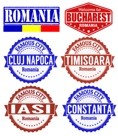 Set of grunge rubber stamps with names of Romania cities, vector illustration